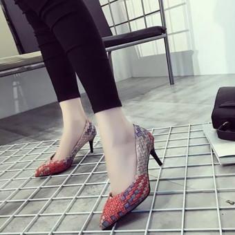 LCFU764 wanita fashion sepatu hak tinggi putri pernikahan pointing to her Office wanita her-7cm