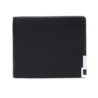 Harga Men PU Leather Short Folding Wallet Card Holder Purse with Metal Edge(Black) - intl