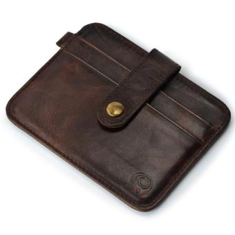 Harga Slim Credit Card Holder Mini Wallet ID Case Purse Bag Pouch Brown - intl