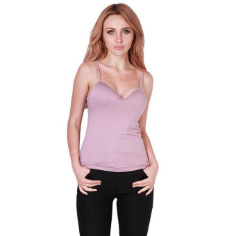 Harga Bra Case Tanktop Bra Chic Women Seamless Bra Vest Spaghetti Strap Tops ( Purple ) Uk L