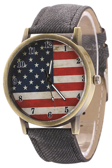Harga Blue lans United States Flag Women's Black Denim Strap Watch