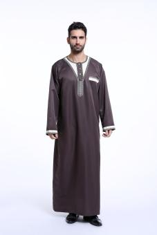 Harga best quanlity Muslim Middle East Arab man's robes long sleeve - coffee - intl