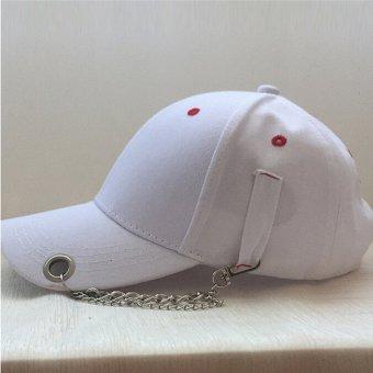 HengSong Fashion wanita pria Jepang Solid Pin rantai cincin Unisex topi bisbol topi putih - International