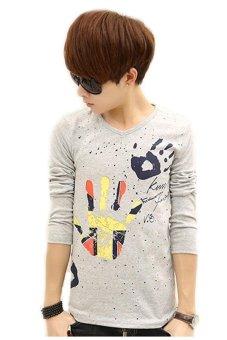 Autumn Mens Long Sleeve T-Shirt Teenagers V-neck Bottoming shirt Slim Printed Casual