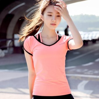 dry V Neck T Shirt Pink intl. Popular Fashion Style Quick dry .