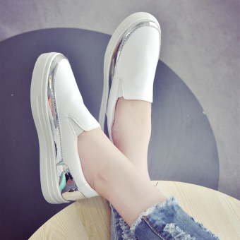 Harga Korean version of the new round flat shoes casual shoes white sport shoes for women - intl