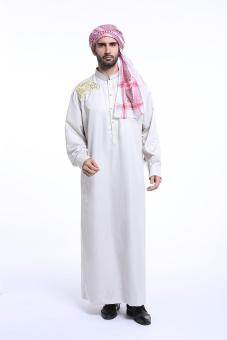 Harga Muslim men long sleeve robe Jubahs Arab Middle East men clothes chest embroidery - silvery gray - intl