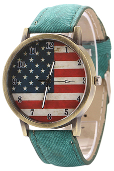 Harga Blue lans United States Flag Women's Green Denim Strap Watch