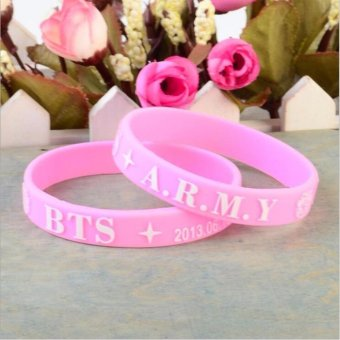 Harga BTS KPOP Fan Bangtan Boys Bulletproof Boy album 3D Sport Silicone Friendship Boys and Girls Wristband Bracelets - intl