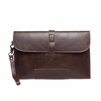 Harga Men's Leather Slim Envelop Bag Wrist Bag Handbag Clutch Briefcase Messenger Bag - intl