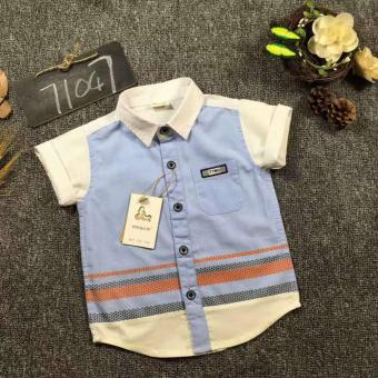 Harga Cutevina - Boys Fashion Short Sleeves Shirt / Kemeja Anak Lengan Pendek 2-9th - Blue (GZ17036)
