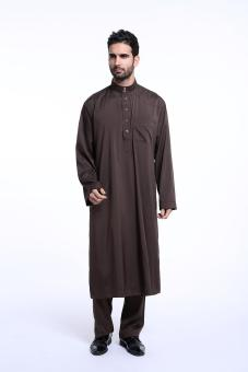 Harga Men's trousers long-sleeved Muslim men's robes Arab youth fashion costume - coffee - intl