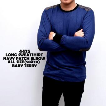 bajuku murah long sweatshirt navy pacth elbow