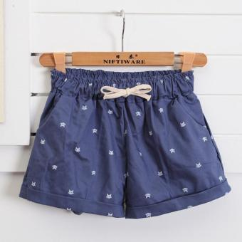 Harga LALANG Cats Pattern Women Summer Shorts Mid Waist Elastic Cotton Shorts (Blue) - intl