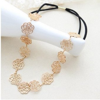 Harga LALANG Vintage Gold Elegance Hollow Alloy Rose Hair Band Headband Hair Jewellery Accessories