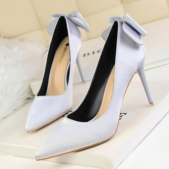 Harga Fashion Pointed Toe Woman Pumps Thin Heels High-Heeled Shoes Closed Toe Women Shoes Bow High Heels Ladies Wedding Shoes