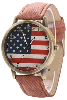Harga Blue lans United States Flag Denim Strap Watch (Brown)