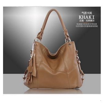 Harga Women Bags Ladies Handbags Cow Leather Leisure Party Tote Bag Shoulder Bag(Khaki).