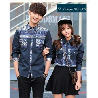 couple store cs - kemeja couple batik 2 saku kemeja pasangan blue