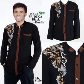 Harga Ak- Yudika - Black Kombinasi Bordir Akiko Fashion