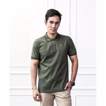 Crocodile Men Polo Shirt - Olive Green - Striped Collar M