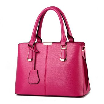 Harga Women Handbag Tote Bag Top Handle Bags Messenger Bags PU Leather Tote Crossbody Purses L16039 (Magenta)