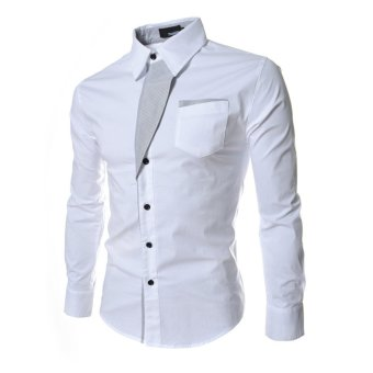 Harga Moonar Men Fashion gaya formal kasual lengan panjang dan ramping saku baju (putih)