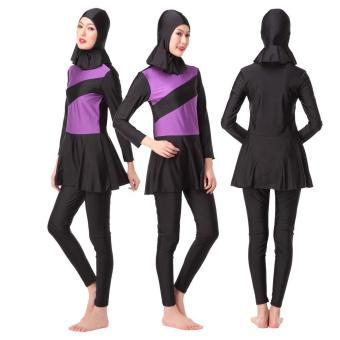 Harga Fashion Muslim Swimwear Arab Women Wear Islamic National Swimsuit - Purple - intl