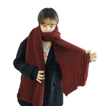 Harga Fashion Women Men's Knitted Scarf/Winter Warm Woolen Knitted Scarf Thick Shawls Wrap Neck Scarf Ladies Winter Scarves Neckwarmer Neckerchief Red - intl