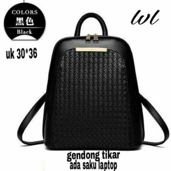 Lestari Fashion Tas Ransel Back Pack Gendong Tikar LS004 hitam