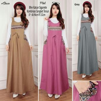 SB Collection Maxi Dress Ariela Overall Gamis Songket -Cream