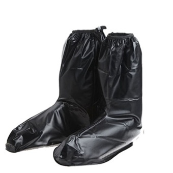 Harga Long Rainy Day Rain Protective Reusable Waterproof Shoes Cover Black L (40-41) - intl