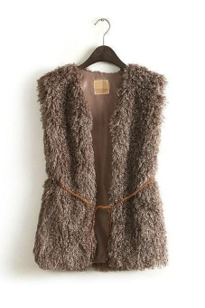 Harga New Lady's vest jacket faux fur vest with belt army (Green) TC - Intl - intl