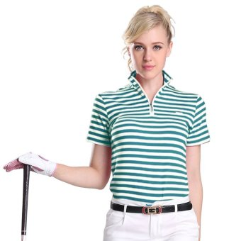 PGM Ladies Golf Apparel T-shirt POLO Shirt with Green Stripes  - intl