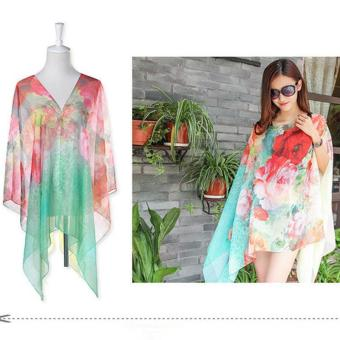 Harga Hang-Qiao Chiffon Shawls Scarf Pearl Button Floral Print Sunscreen Clothing Scarf (Multicolor) - intl