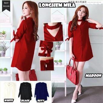 Harga Queenshop - Dress Longhem Mila - Maroon