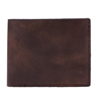Harga Men Leisure PU Leather Short Wallet Business Card Holder Purse(Coffee) - intl