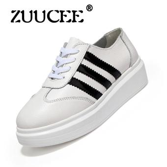 Harga ZUUCEE 2017 Spring and autumn new leather small white shoes women's shoes at the end of the Korean version of the end of the Department of casual loose lace shoes(wihte)