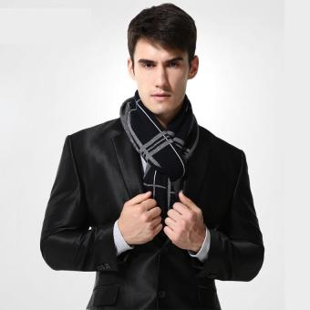 Harga Wool Scarf Men's Womens Brand Scarf Men's Fashion Designer Shawl Bussiness Casual Scarves (Black) - intl