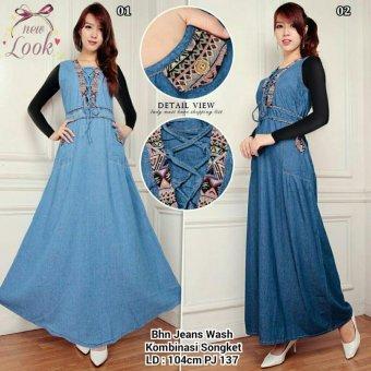 SB Collection Maxi Dress Debby Jeans Overall-Biru Muda