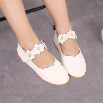 Harga Cute Baby Girl's Child's Kid's Princess Toddler Flat Kids School Casual Leather Shoes I110 White - intl