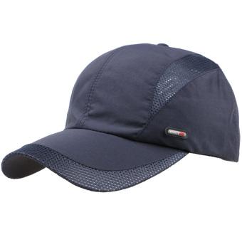 Adapula kolam olahraga musim panas sejuk cepat kering yang dapat topi  bisbol Solid topi biru laut ea2c6fa1d8