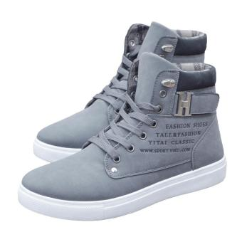 Harga Ai Home Men High Top Lace Boots Casual Warm Canvas Shoes Ankle Boots40 (Grey) - intl