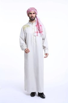 Harga High Quality One-Piece Muslim Men Jubahs-White - intl