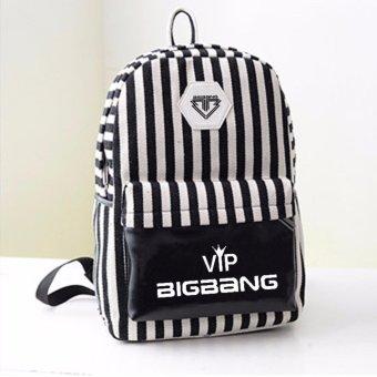 Atdiva Tas Ransel Kpop Stripe Black And White - Bigbang