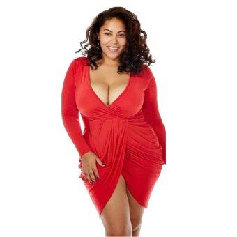 Cocotina ukuran lebih seksi wanita Bodycon leher V lengan panjang gaun pesta Mini Clubwear - Merah