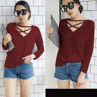 Harga Grateful Blouse Meica - Maroon