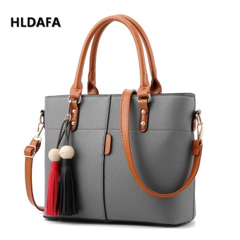 Harga Fashion Female Bag Messenger Bag Top-Handle Bags (Grey) - intl