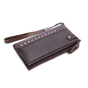 Harga Genuine Leather Men Wallets with Multi Card Holders Men's Long Wallets Purse Man Clutch Bag Brown - intl
