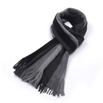Harga Fashion designer Men Classic Scarf Cashmere Winter Warm Sweet Fringed Striped Tassel Shawl Wrap Striped Scarf Men Scarves (Grey) - intl